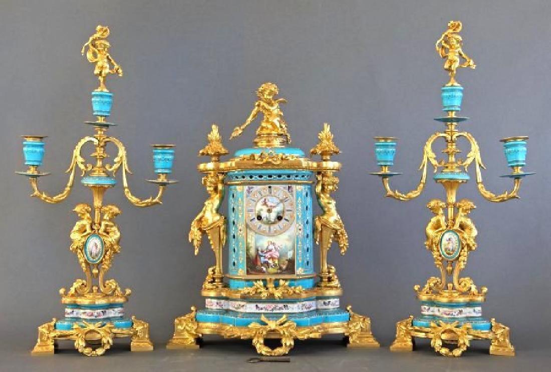 Sevres Porcelain & Bronze Jeweled Figural Clock Set