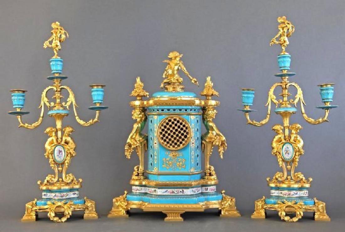 Sevres Porcelain & Bronze Jeweled Figural Clock Set - 2
