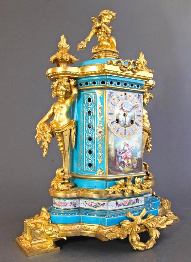 Sevres Porcelain & Bronze Jeweled Figural Clock Set - 4