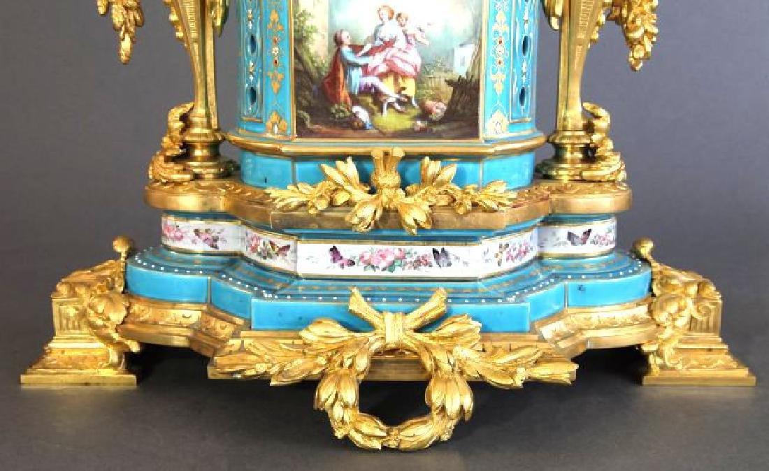 Sevres Porcelain & Bronze Jeweled Figural Clock Set - 6