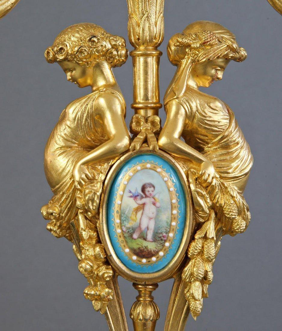 Sevres Porcelain & Bronze Jeweled Figural Clock Set - 8
