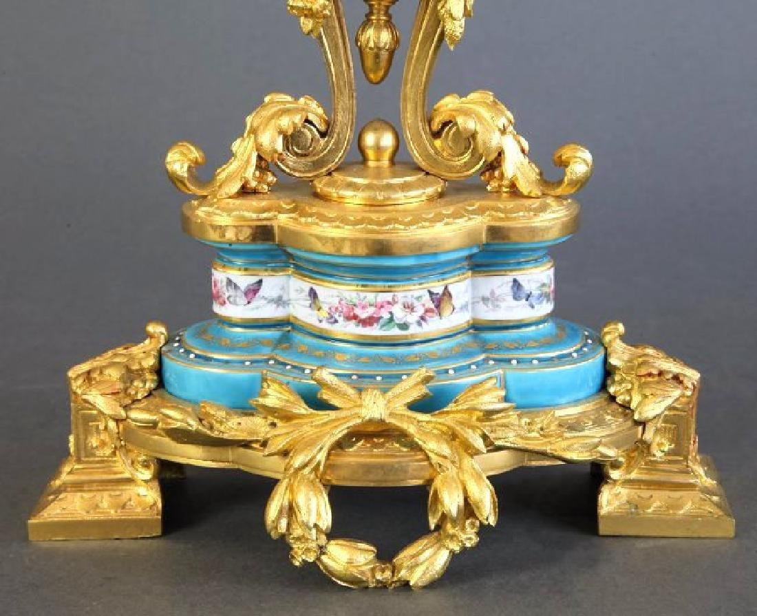 Sevres Porcelain & Bronze Jeweled Figural Clock Set - 9
