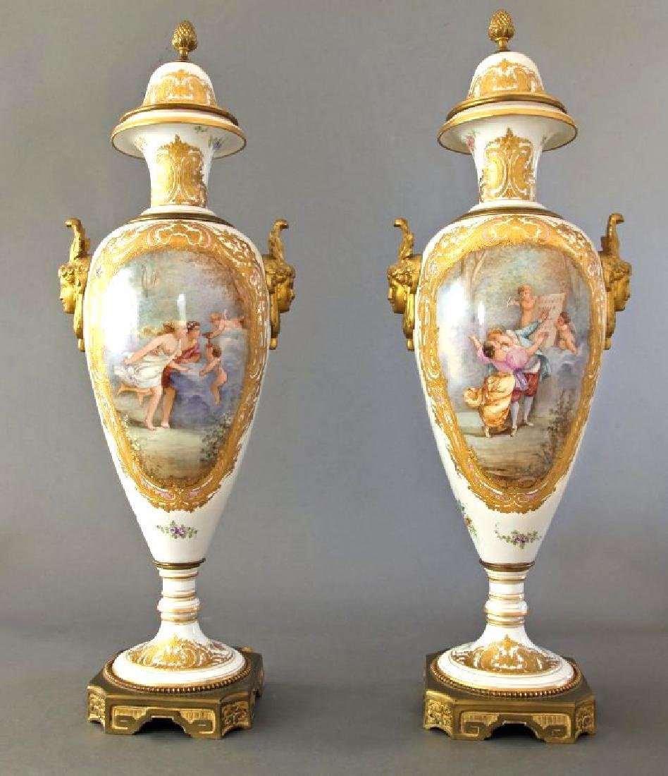Monumental Pair of French Sevres & Bronze Vases - 2
