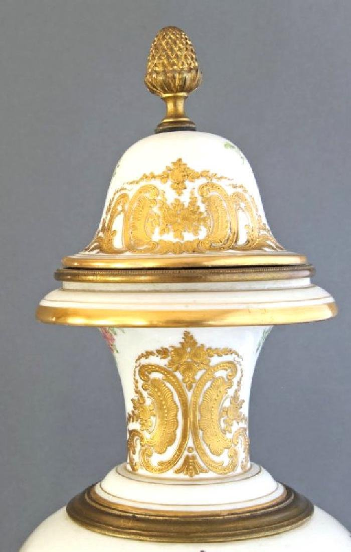 Monumental Pair of French Sevres & Bronze Vases - 9