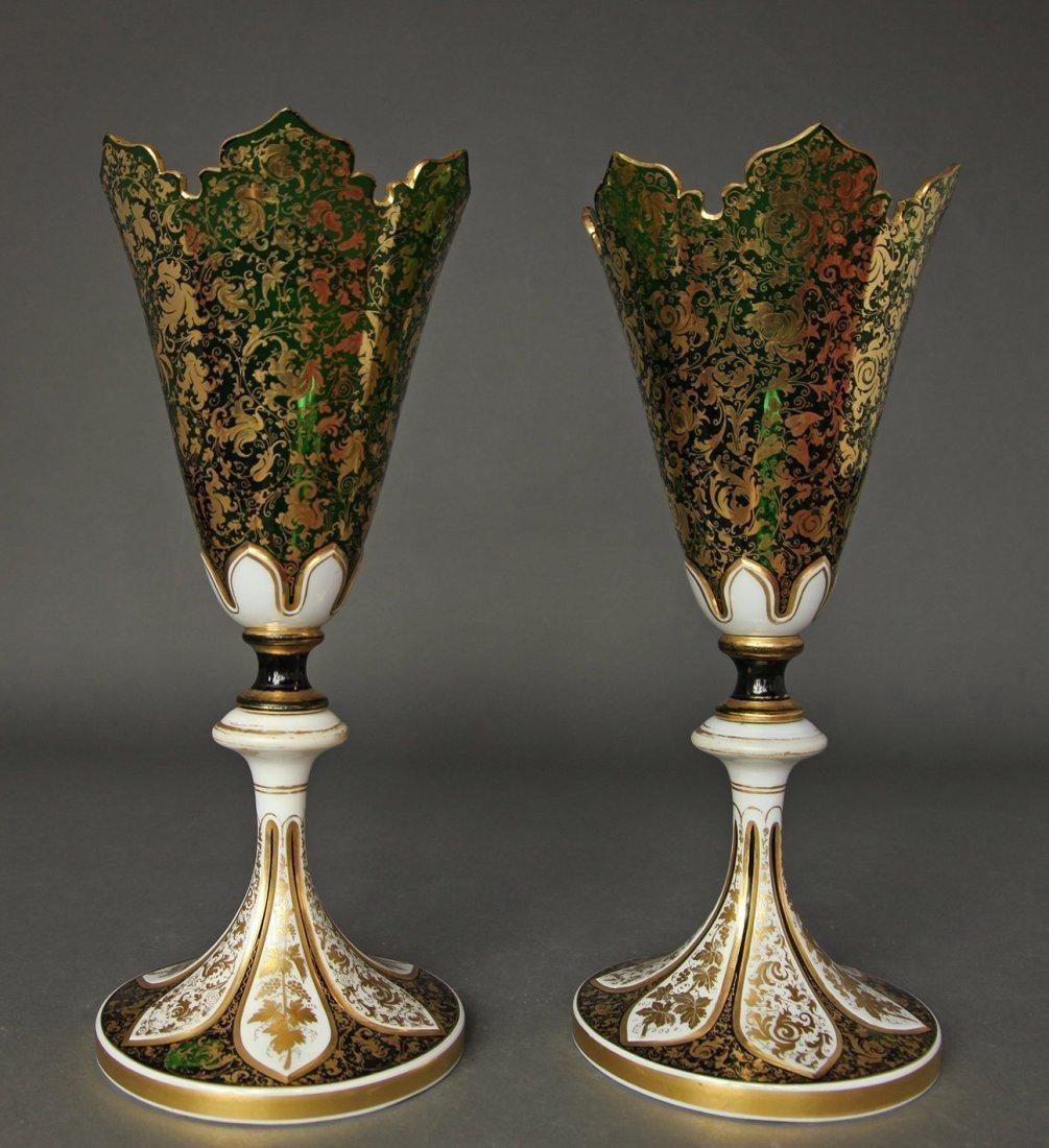 Pair of Bohemian Diamond Cut Crystal Figural Vases - 4