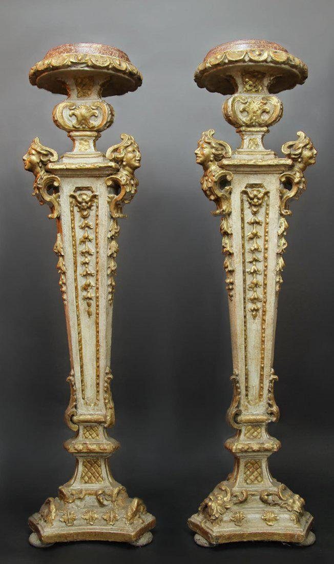 Pair of 19th C. Italian Wooden Carved Pedestals