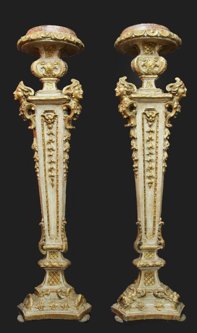 Pair of 19th C. Italian Wooden Carved Pedestals - 2