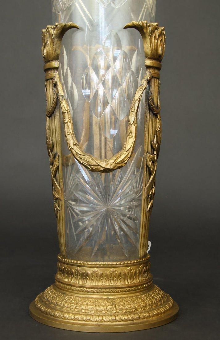 19th C. Bronze & Baccarat Crystal Vase - 2