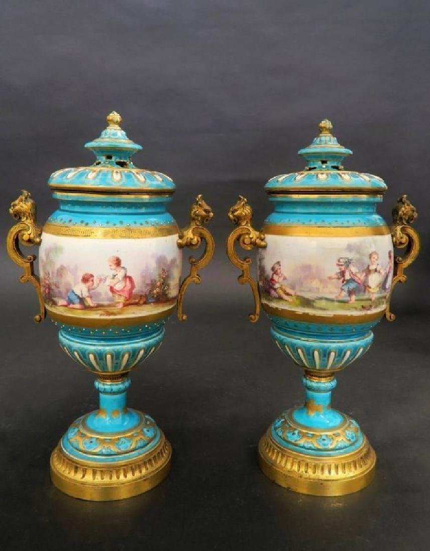 Magnificent Turquoise Blue Sevres Style Vases/Urns - 2