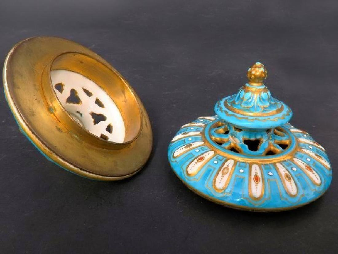 Magnificent Turquoise Blue Sevres Style Vases/Urns - 3