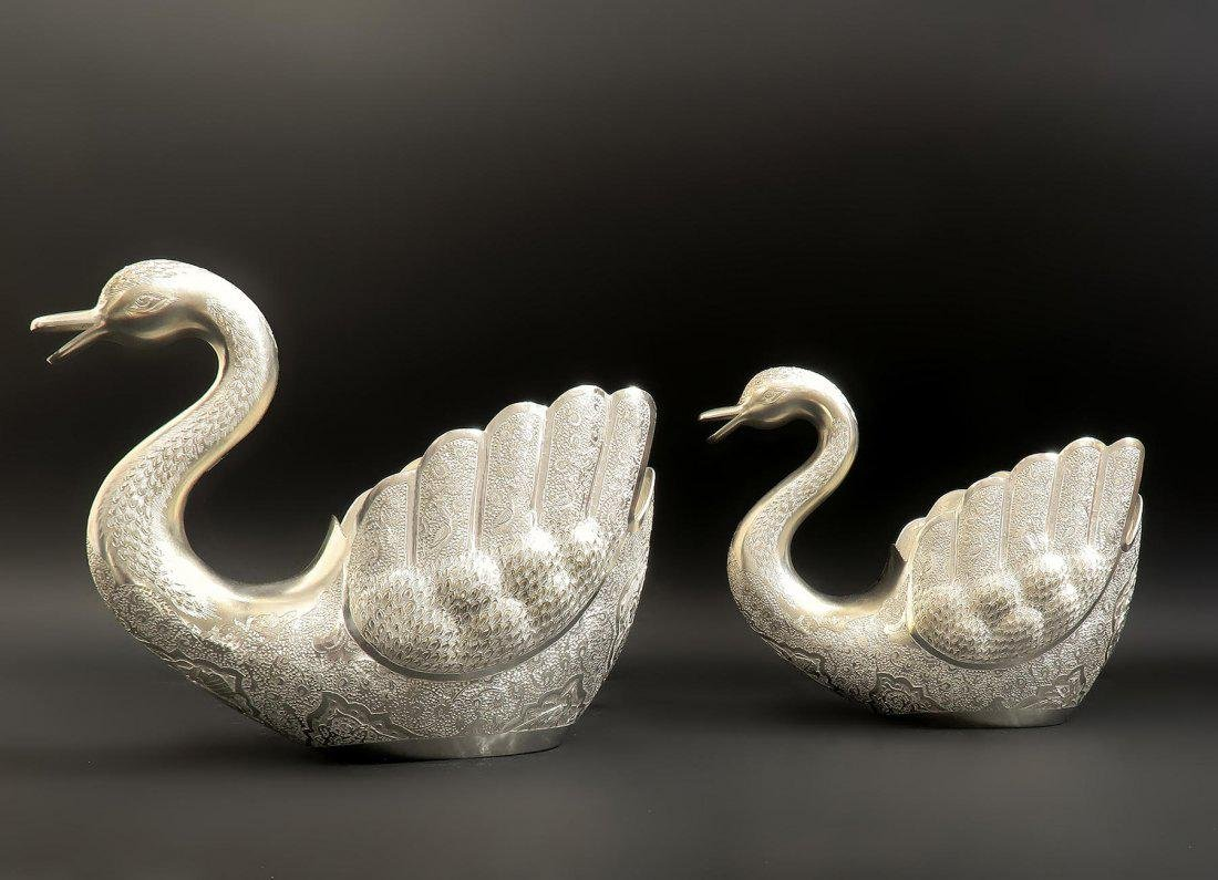 Pair of Hand Engraved Persian Silver Swans