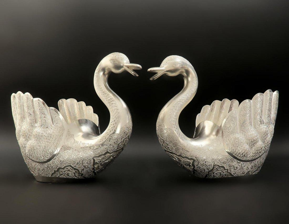 Pair of Hand Engraved Persian Silver Swans - 2