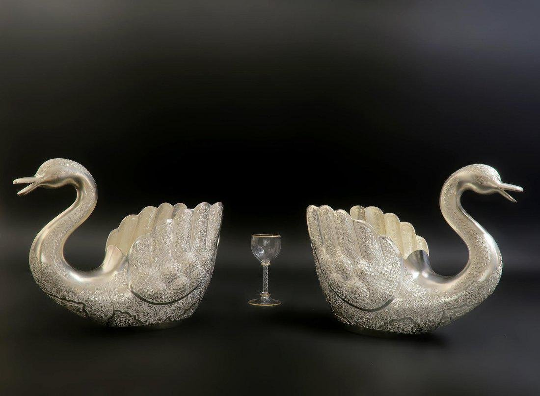 Pair of Hand Engraved Persian Silver Swans - 3