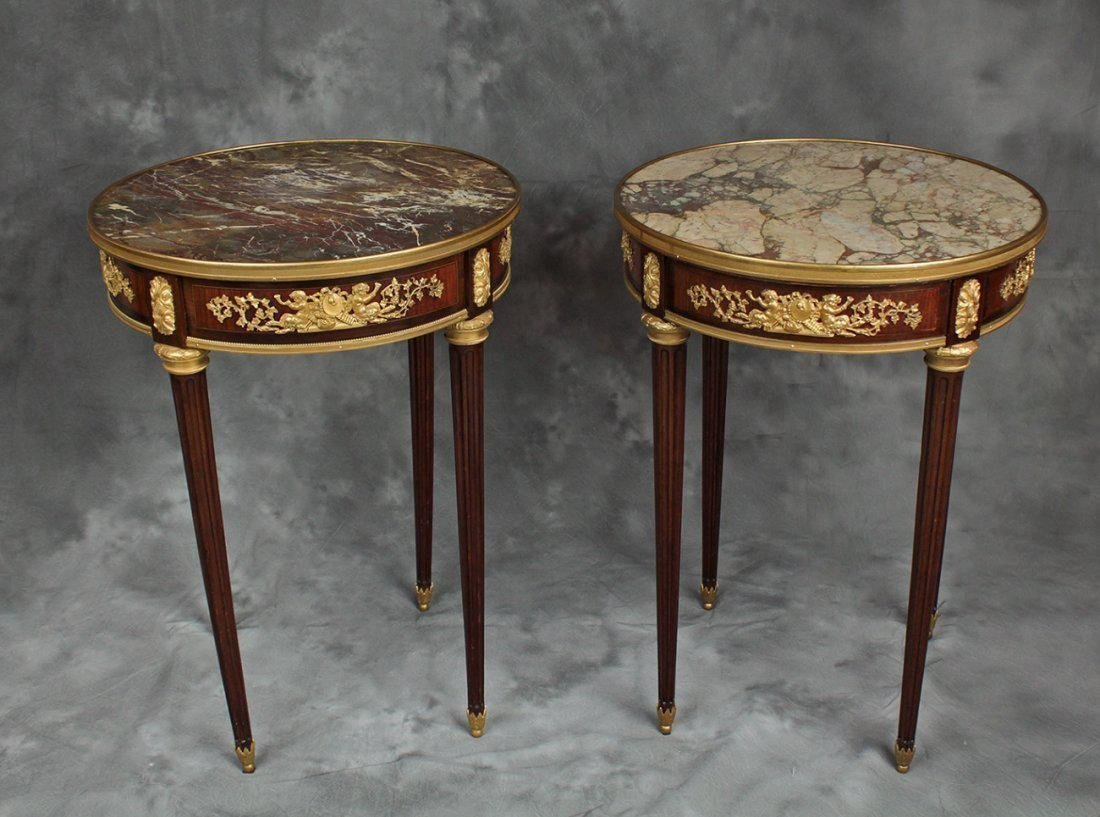"Pair of French Signed ""F. Linke"" Side Tables/Gueridons"