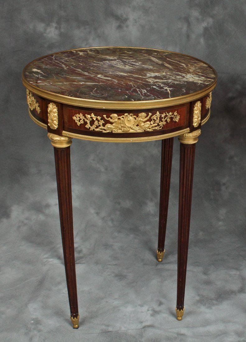 "Pair of French Signed ""F. Linke"" Side Tables/Gueridons - 2"