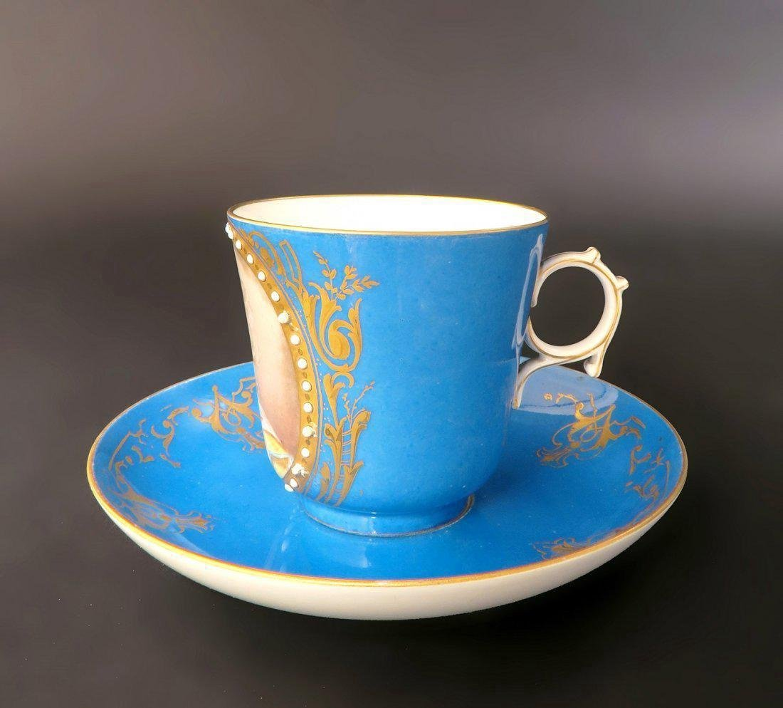 18/19th C. Sevres Jeweled Portrait Cup & Saucer - 2