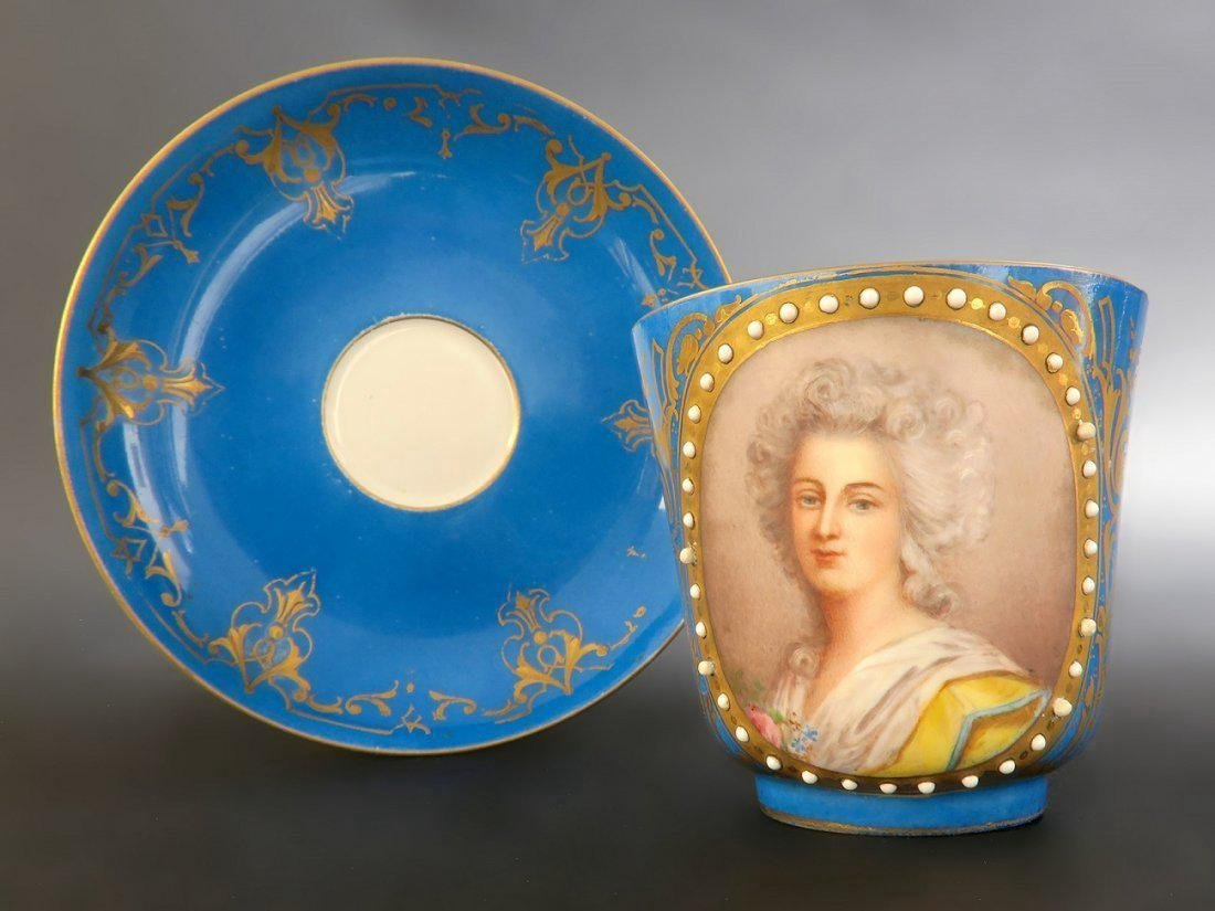 18/19th C. Sevres Jeweled Portrait Cup & Saucer - 6