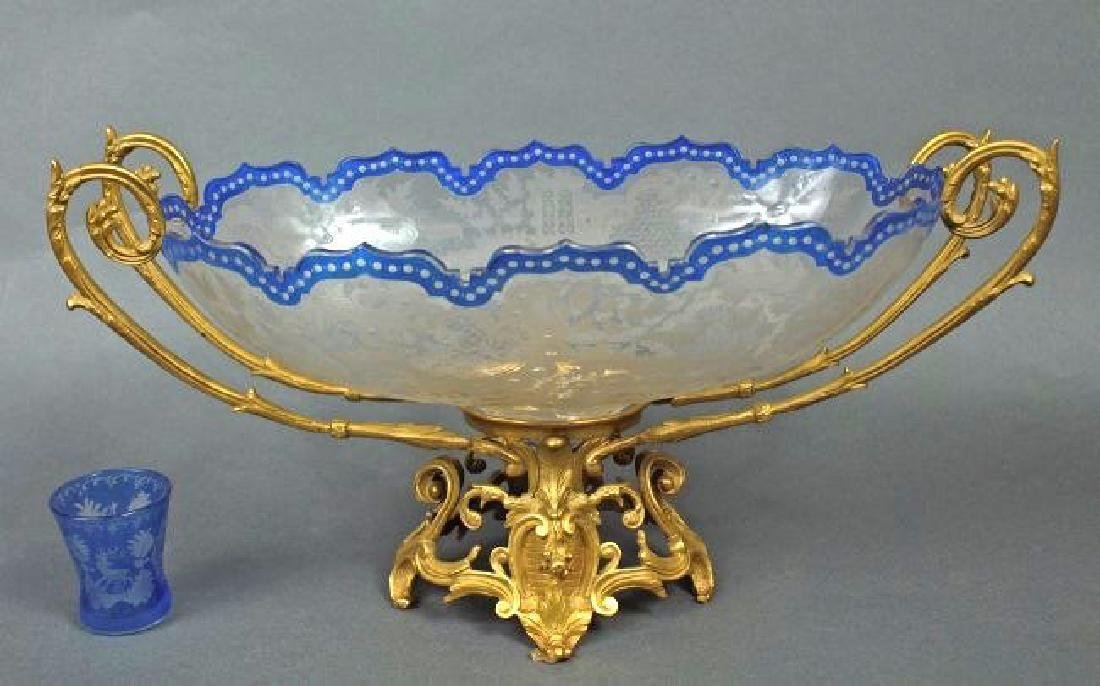 19th C. French Bronze & Baccarat Crystal Centerpiece - 2