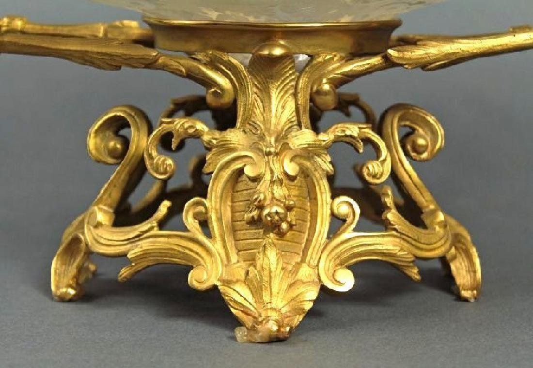 19th C. French Bronze & Baccarat Crystal Centerpiece - 5