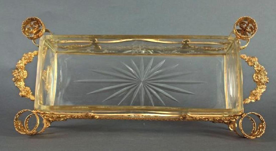 19th C. French Bronze & Baccarat Crystal Centerpiece - 4