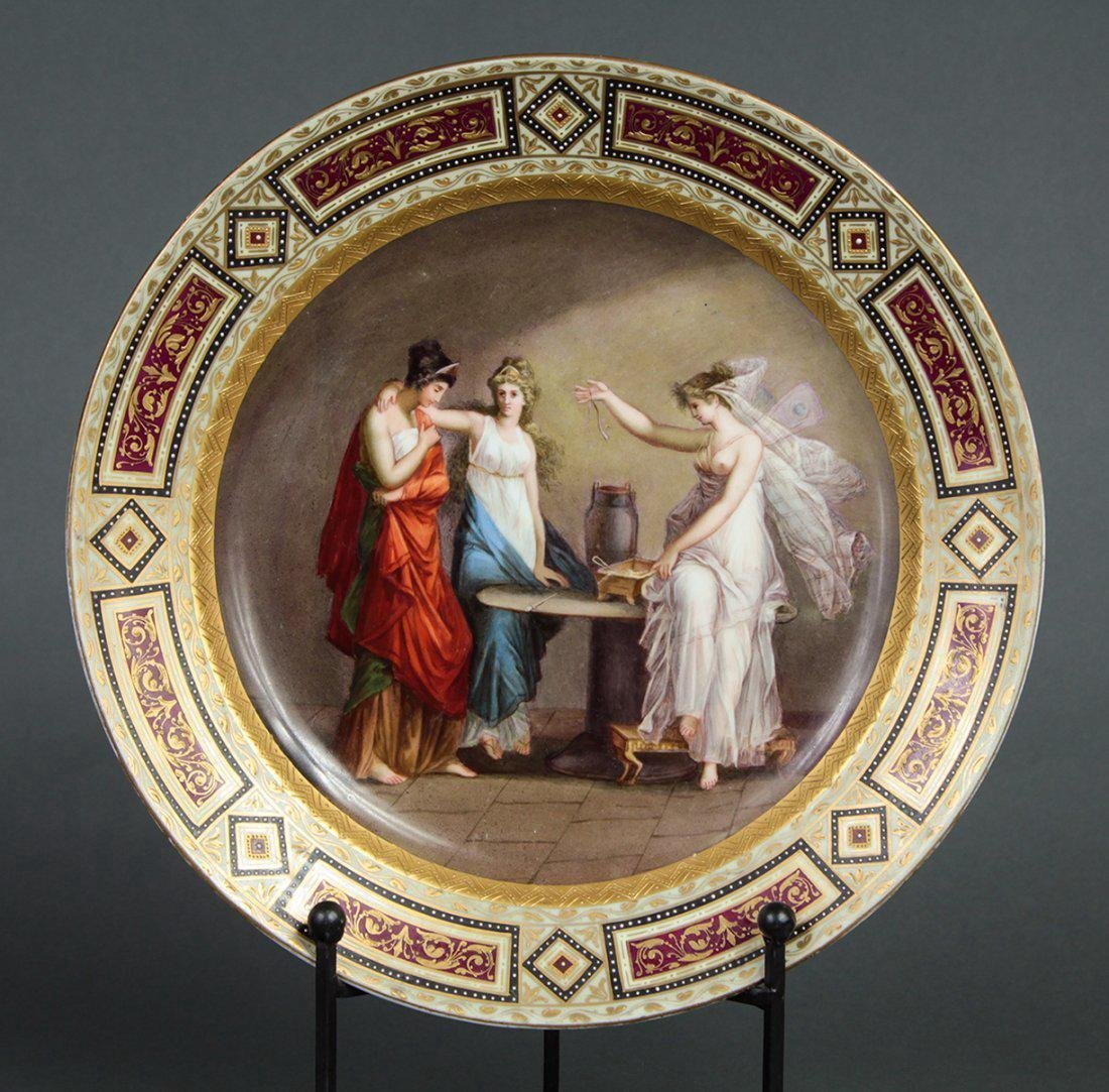 Large 19th C. Hand Painted Royal Vienna Plate