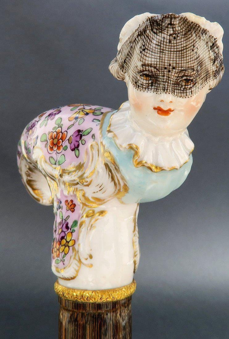 Pair Of 19th French Carnival Porcelain Cane - 7