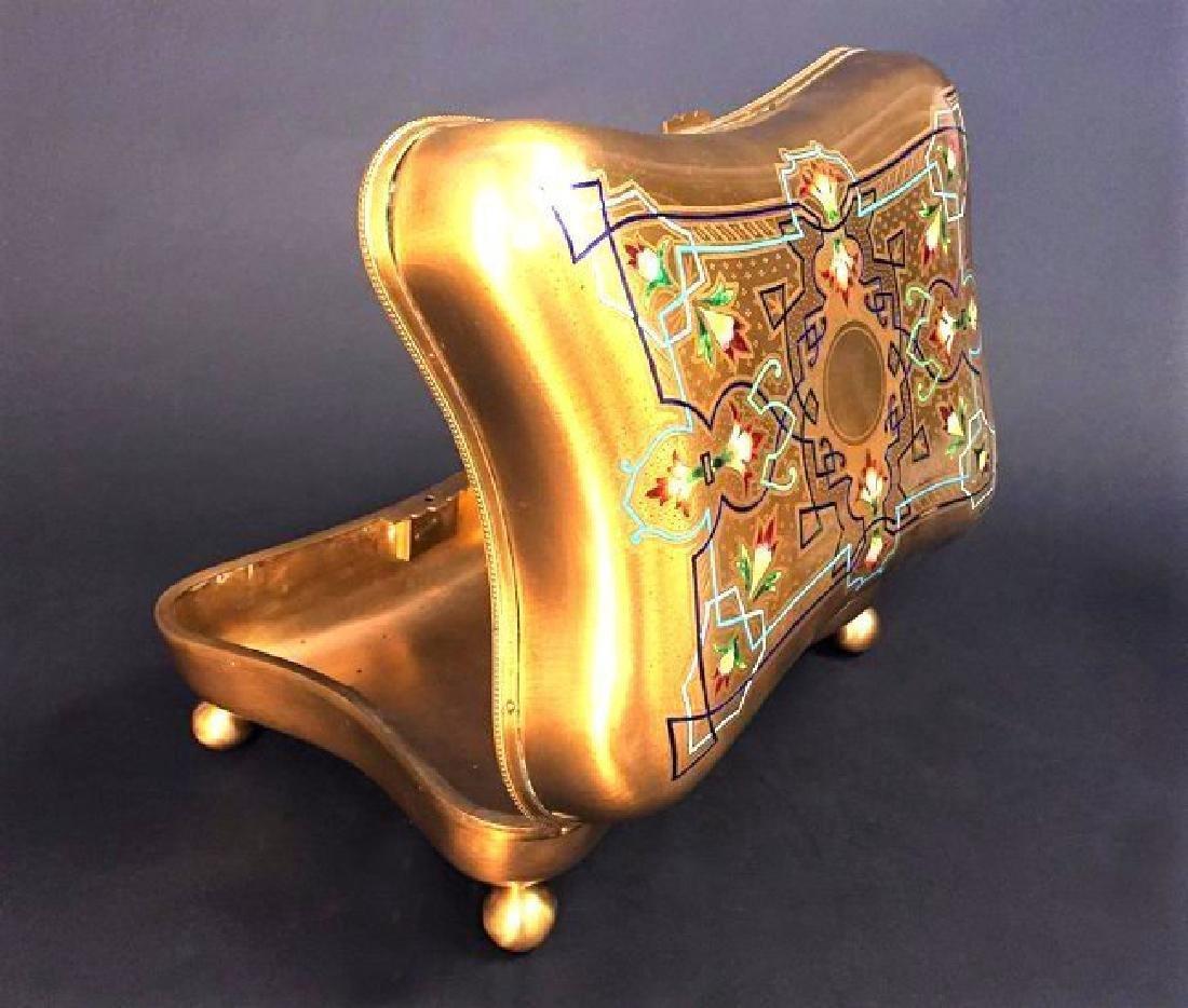 Large French Bronze & Champleve Enamel Jewelry Box - 3