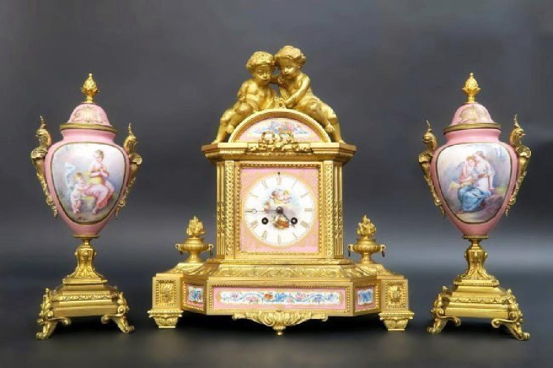 French Bronze & Sevres Porcelain Figural Clock Set