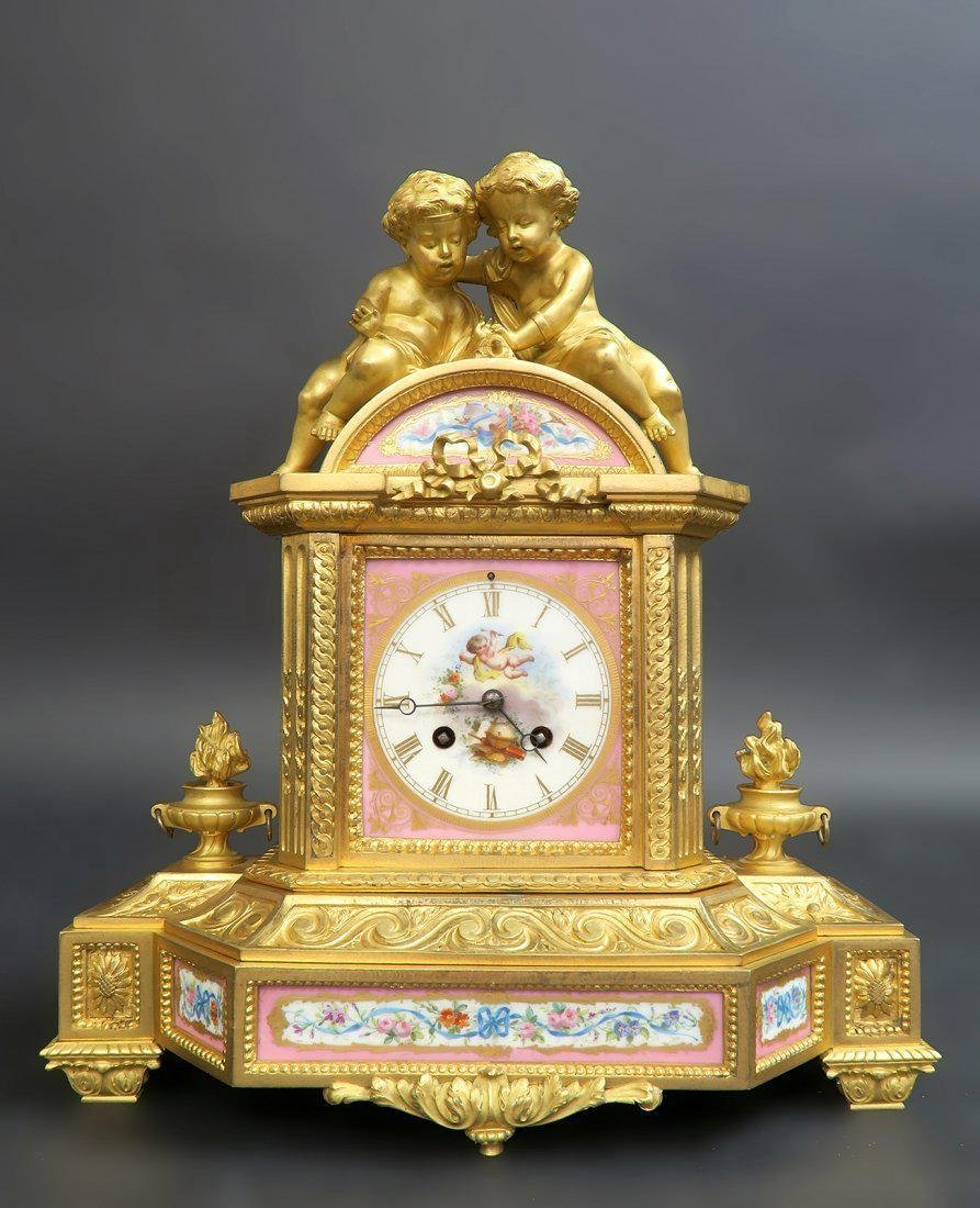 French Bronze & Sevres Porcelain Figural Clock Set - 2