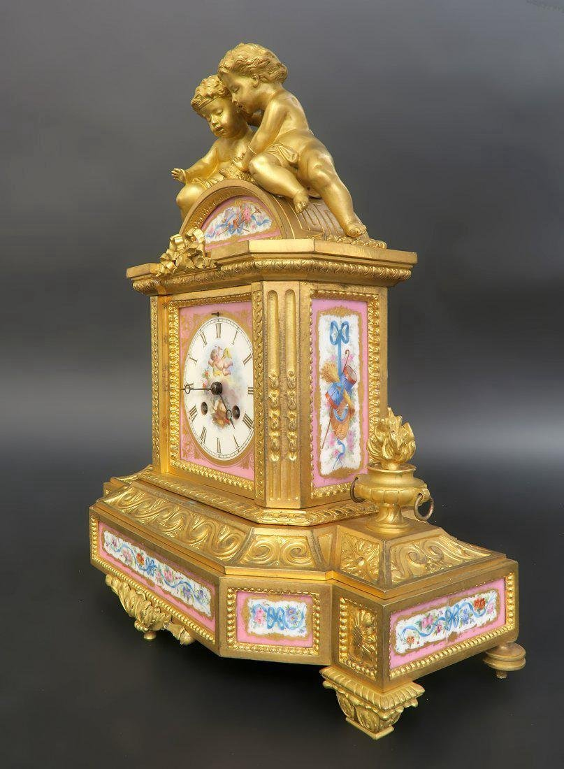 French Bronze & Sevres Porcelain Figural Clock Set - 3