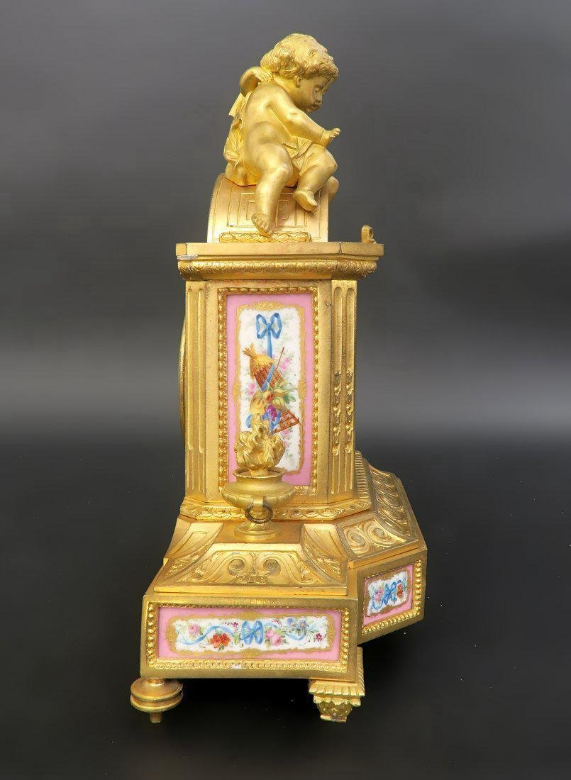 French Bronze & Sevres Porcelain Figural Clock Set - 6