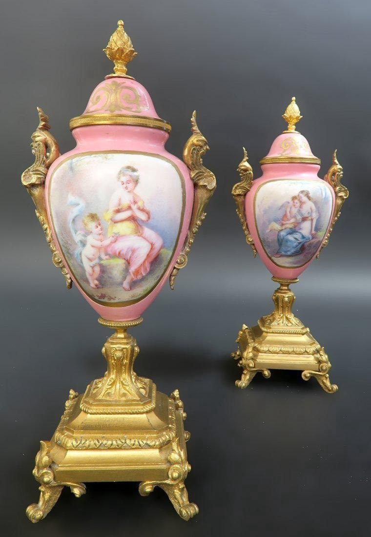 French Bronze & Sevres Porcelain Figural Clock Set - 8