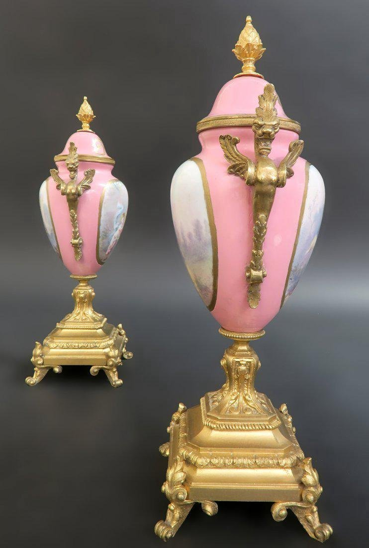 French Bronze & Sevres Porcelain Figural Clock Set - 9