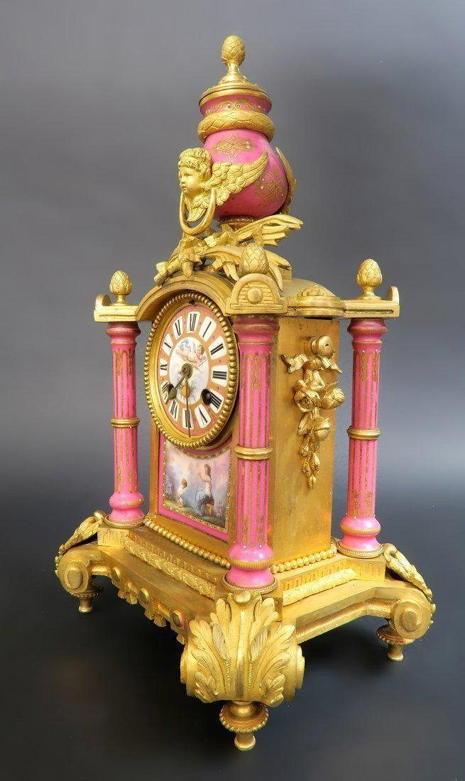 19th C. French Bronze & Sevres Porcelain Clock Set - 2