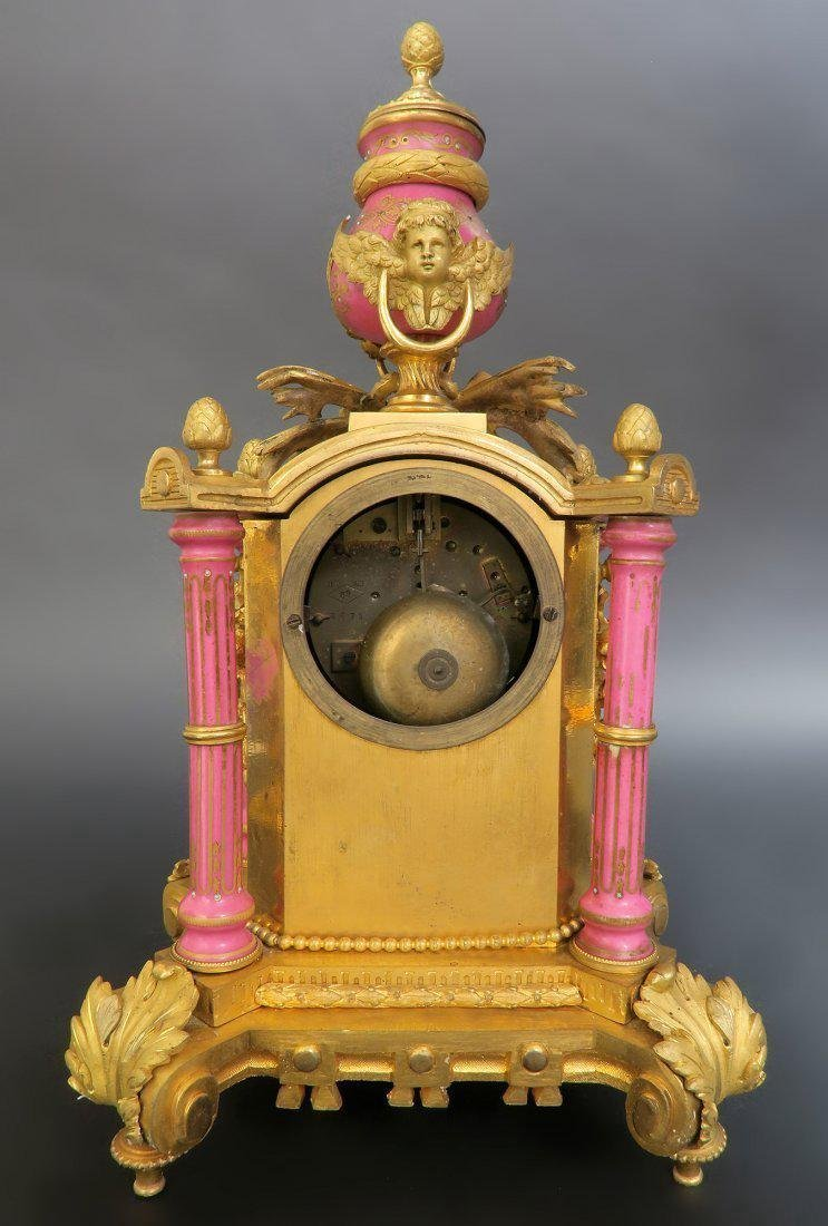 19th C. French Bronze & Sevres Porcelain Clock Set - 4