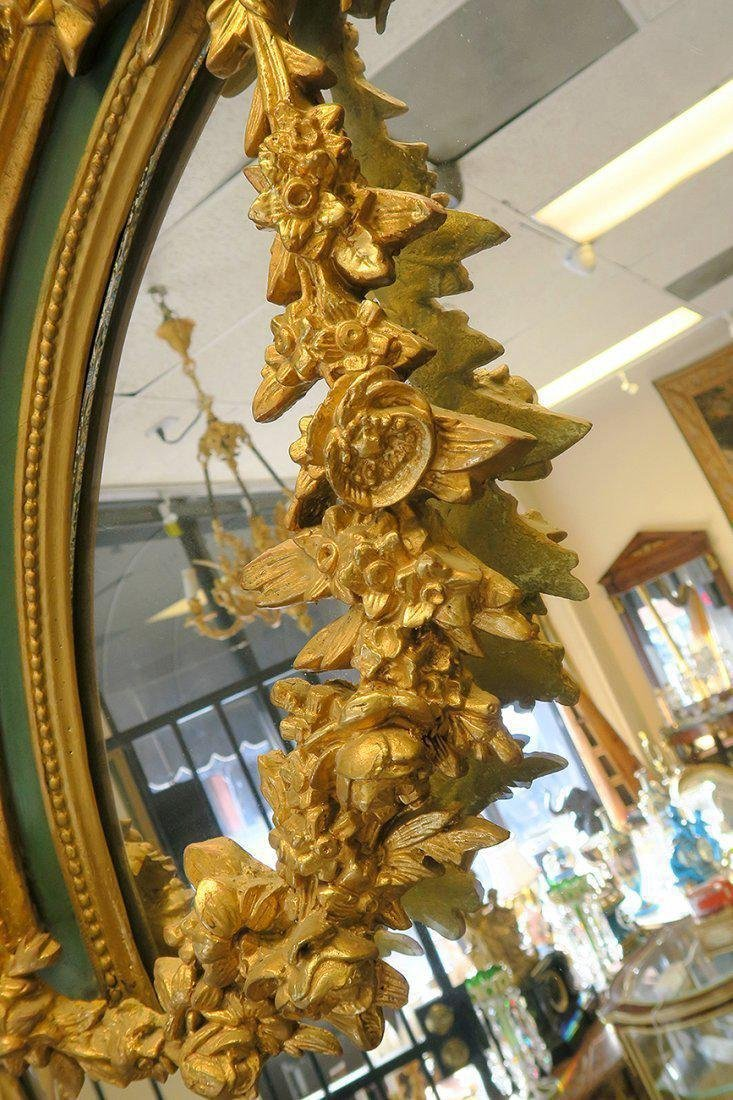 Very Fine Palatial French Wood Carving Figural Mirror - 4