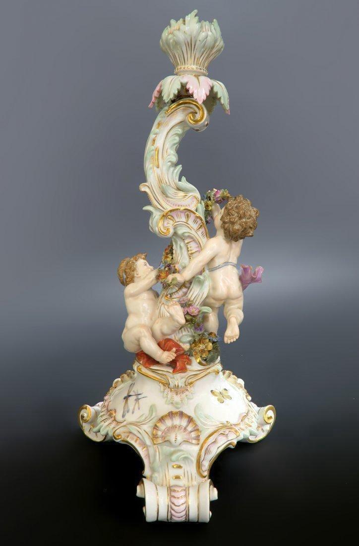 19th C. Meissen Figural Porcelain Candle Stick - 2