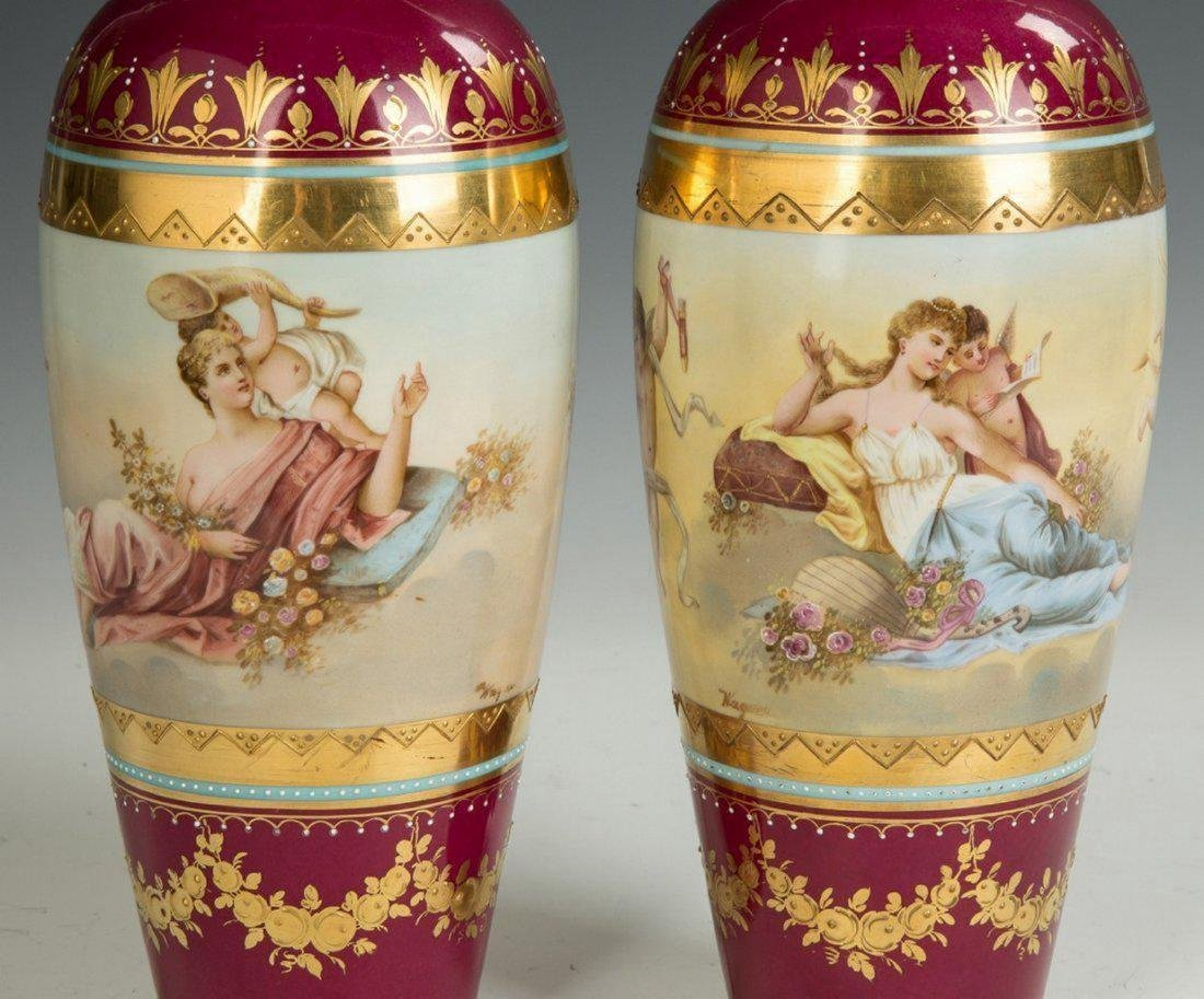 Austrian Hand Painted Porcelain and Enameled Vases - 2