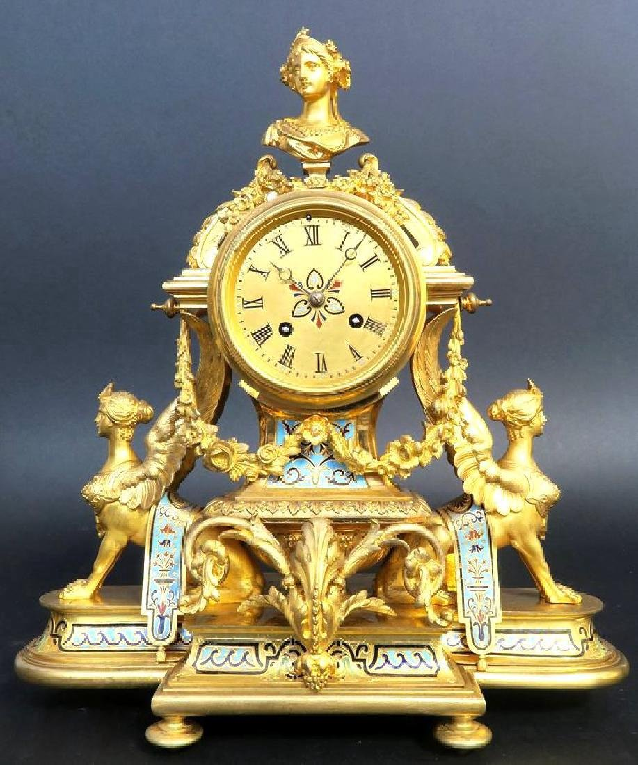 French Champleve Enamel & Bronze Figural Clock Set - 2