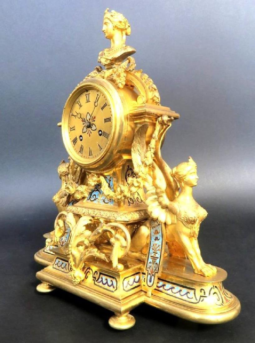 French Champleve Enamel & Bronze Figural Clock Set - 3