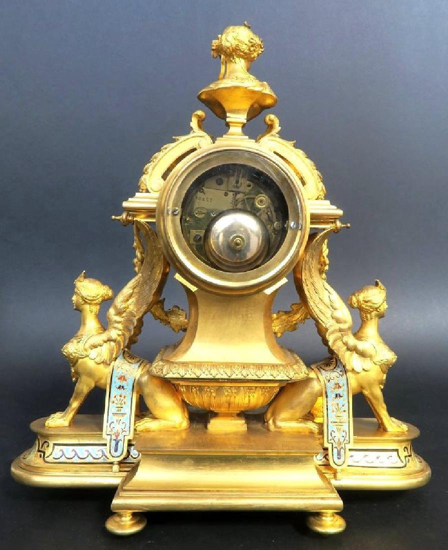French Champleve Enamel & Bronze Figural Clock Set - 4