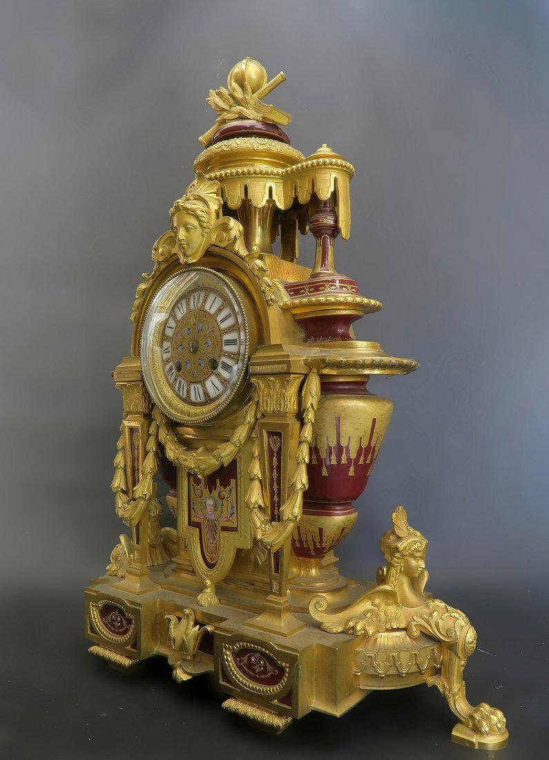 Fine 19th C. Bronze & Porcelain French Mantle Clock - 4