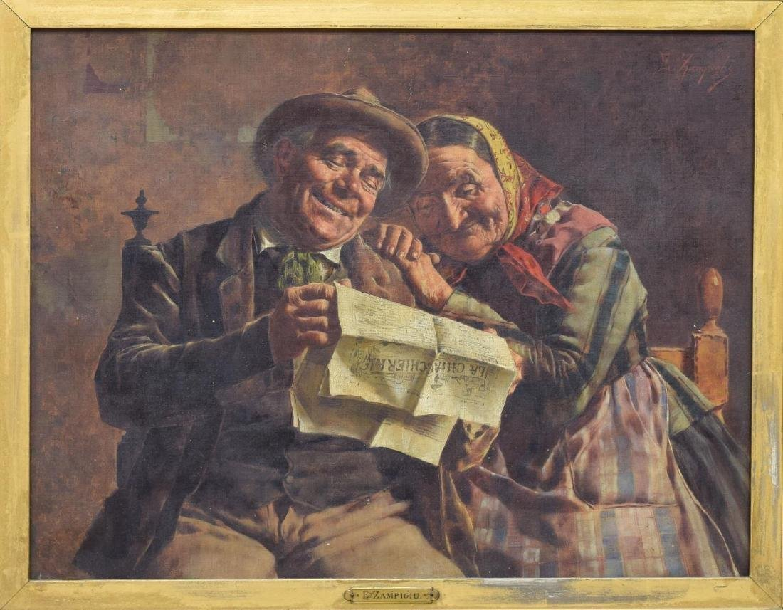 EUGENIO ZAMPIGHI (1859-1944) OLD COUPLE PAINTING - 2