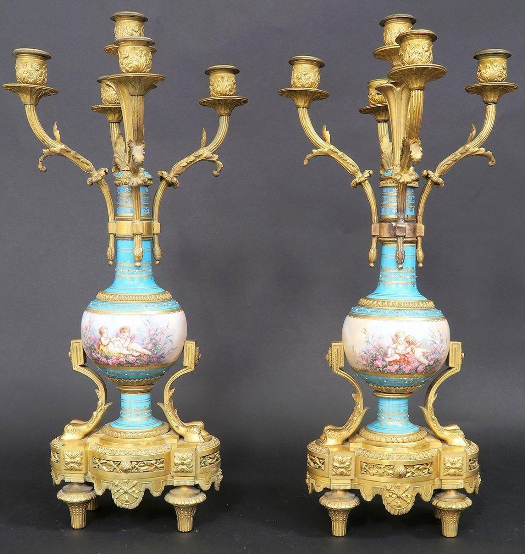 Large French Bronze & Sevres Porcelain Clock Set by Rai - 10