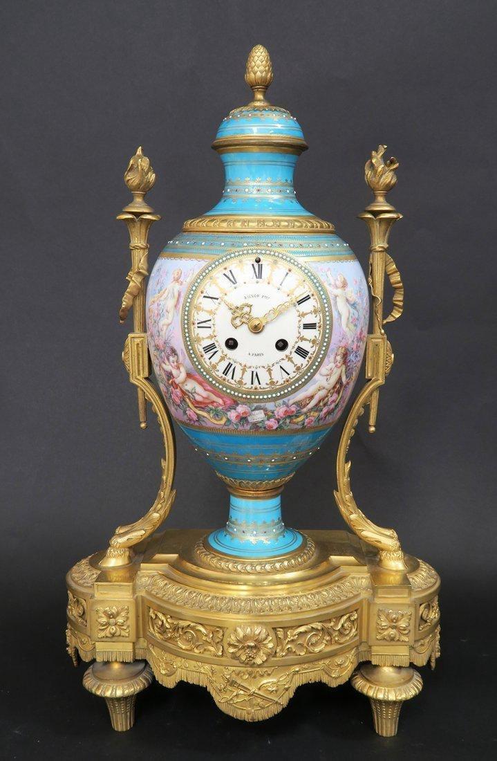 Large French Bronze & Sevres Porcelain Clock Set by Rai - 2