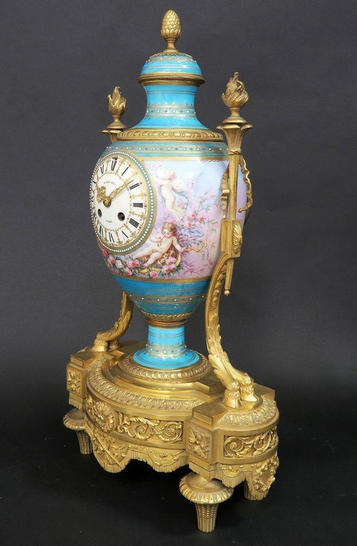 Large French Bronze & Sevres Porcelain Clock Set by Rai - 3
