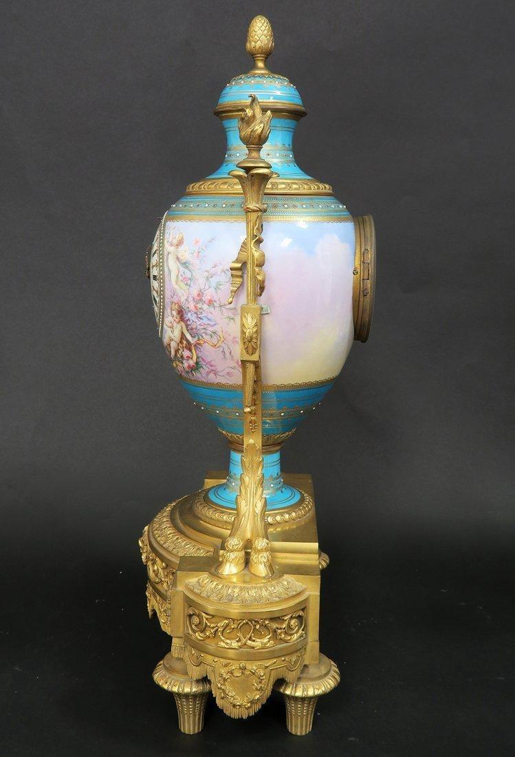 Large French Bronze & Sevres Porcelain Clock Set by Rai - 4