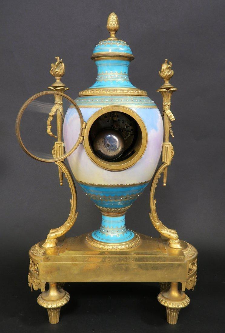 Large French Bronze & Sevres Porcelain Clock Set by Rai - 5