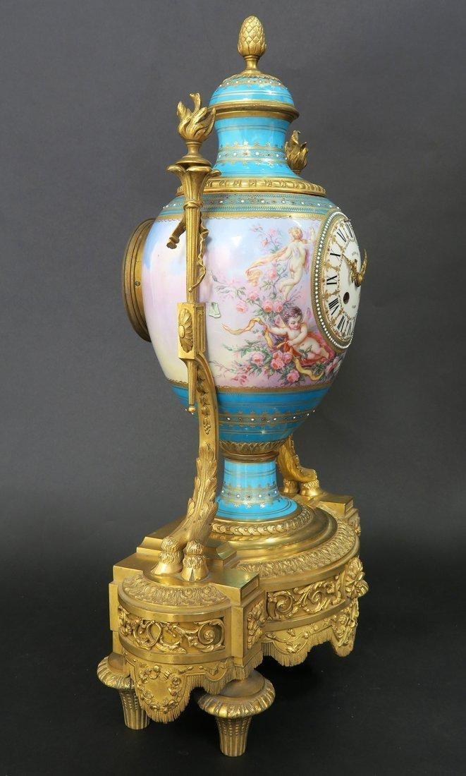 Large French Bronze & Sevres Porcelain Clock Set by Rai - 6
