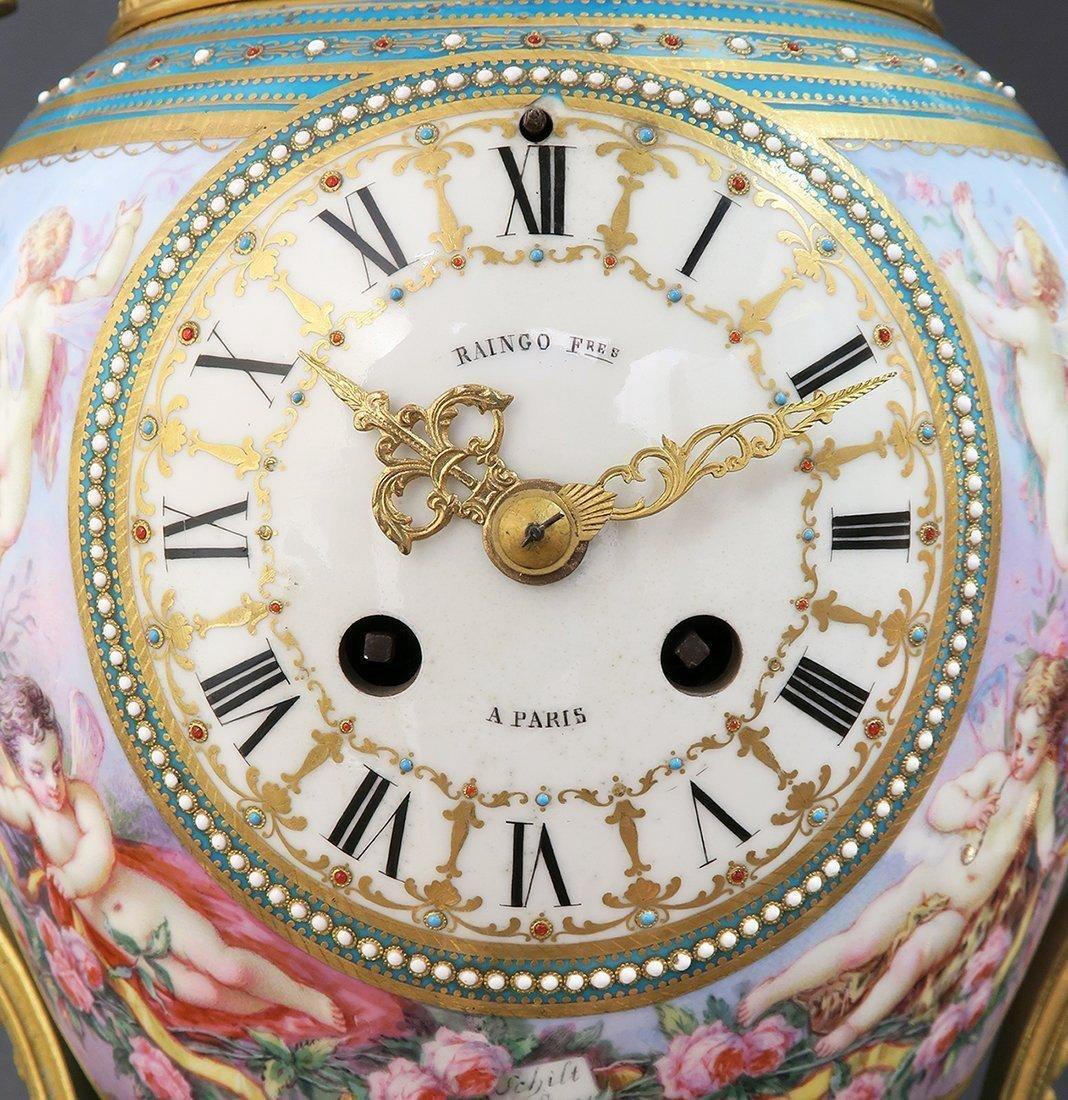 Large French Bronze & Sevres Porcelain Clock Set by Rai - 7
